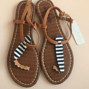 Navy & White Striped Sandals